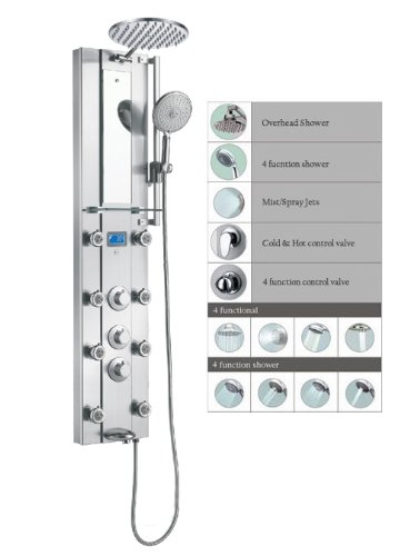 "Lowest Price! Blue Ocean 52"" Stainless Steel SPV962332 Thermostatic Shower Panel with Rainfall ..."