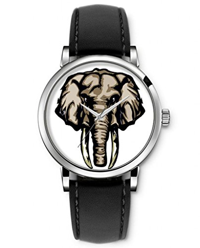 Sprawl Vintage Style Animal Watches For Teens Girls Boys Analog Quartz Wrist Watch Black Genuine Leather Strap -- Angry Bromn Elephant front-1079161