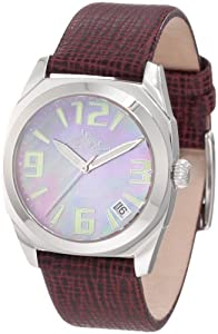 Lucien Piccard Women's 2A-352 Monaco Automatic Pink Mother-Of-Pearl Dial Burgundy Leather Watch