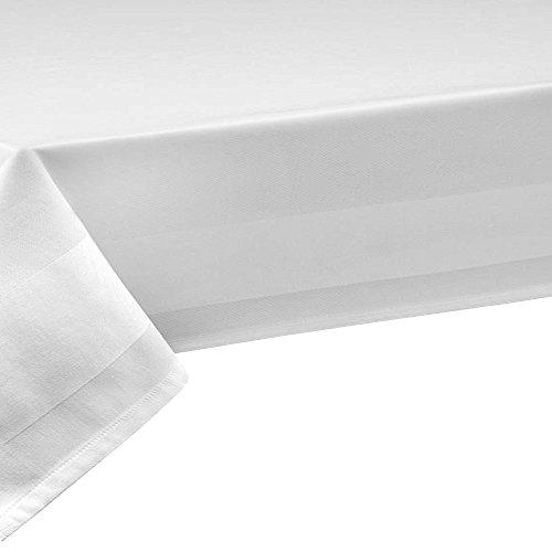 100% Baumwolle Meterware Damast Weiss Breite 140 cm Länge wählbar Tischdecke- Breite 140 cm ECKIG 140 x 100 bzw. 100x140 cm Weiss mit 2 seitiger Atlaskante