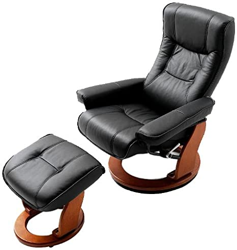 Robas Lund Hamilton Recliner Chair with Stool black