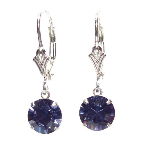 chic Tanzanite Swarovski Crystal drop earrings on Sterling Silver lever backs with Gift Box. Made in England. Beautiful jewellery for very special people.