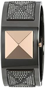Vince Camuto Women's VC/5153RGTT Swarovski Crystal Accented Gunmetal and Rose Gold-Tone Pyramid Cuff Bangle Watch