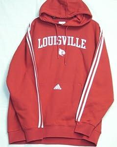 Louisville Cardinals Adidas 3 Stripe Hooded Sweatshirt by adidas