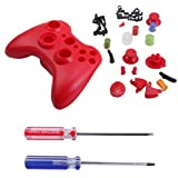 Hde Xbox 360 Wireless Controller Shell Buttons Thumbsticks Torx Screwdriver Replacement Case Cover And Tool Kit Red