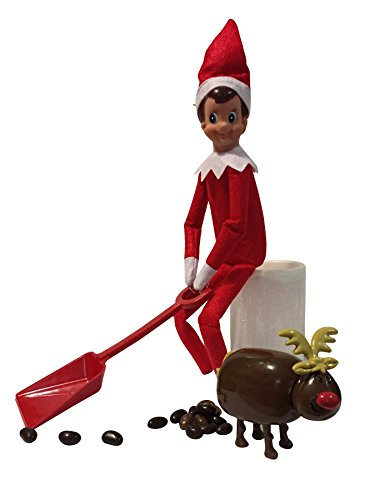 Elf On The Shelf Shoveling Jelly Beans From Pooping Reindeer with Bonus LED Pillar Candle (Jelly Bean Pooping compare prices)