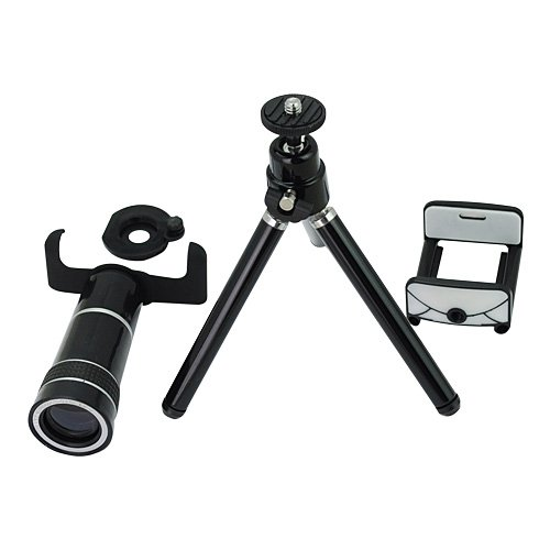 10X Optical Zoom Lens Mobile Phone Telescope With Stand For Samsung I9100-Black