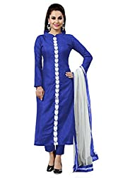Blue Banglori Silk Embrodiered Unstitched Dress Material