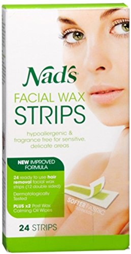 Nad's Facial Hair Removal Strips 24 Each (Pack of 8)