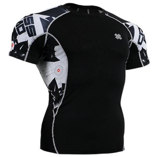 Fixgear Mens Womens Running Compression Base Layer Shirt Tight Black
