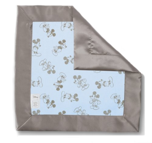 Swaddledesigns Baby Lovie, Security Blanket In Classic Disney - Taupe Gray Mickey, Pastel Blue
