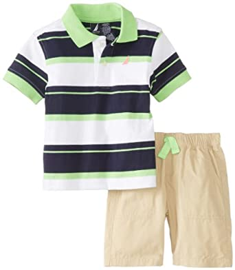 Nautica Baby Boys' Striped Polo with Short 2 Piece Set, Neon Lime, 24 Months