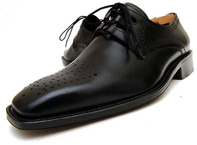 ZIGNA スクエアトゥ ギリー クラシコ靴 高級アニリン革 ブラック (26)