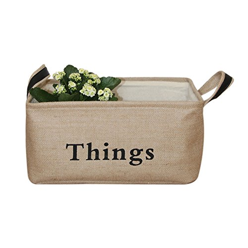 Read About Vintage Eco-friendly Jute Linen Square Storage Bin for Organizing Toys Clothing Books Gif...
