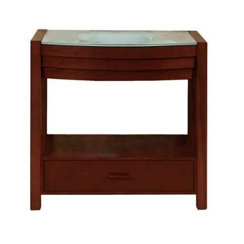 "DecoLav 5118T 34"" Solid Wood Vanity with Tempered Glass Top and Sink, Walnut"