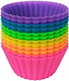 Pantry Elements Jumbo Silicone Baking Cups - Set of 12 Large 3.5-inch Diameter x 1.6-inch Tall, Reusable Cupcake Liners in Six Vibrant Colors in Storage Container - Baking Molds Replace Muffin Pans, Great for Pot Pies, Meat Loaf, Quiche, and Pastry Desserts - BPA Free Food Grade Silicone Non-stick Bakeware