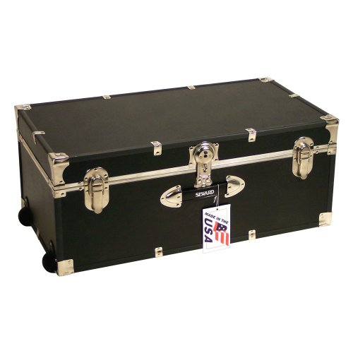 Locking Footlocker Trunk with Wheels - 30 in Black by Mercury Luggage