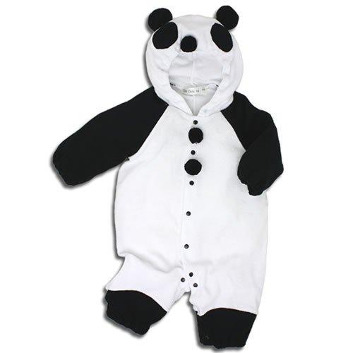 【パンダ】着ぐるみ フード付き カバーオール 80cm ベビー コスチューム 白黒 衣装 年賀状 ハロウィン