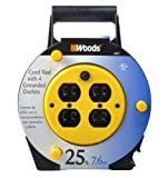 Woods 4907 25-Foot Extension Cord Reel with 4-Outlets and 13-Amp Circuit Breaker
