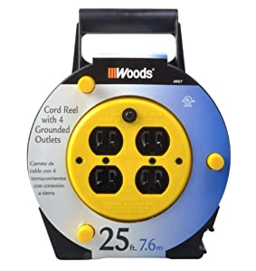 Woods 4907 25-Foot Extension Cord Reel with 4-Outlets and 12-Amp Circuit Breaker