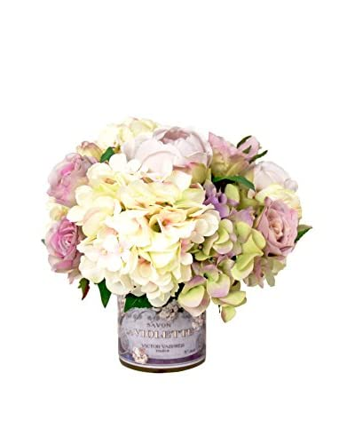 Creative Displays Rose And Hydrangea Decoupage Pot, Lavender/Pink/Green/White