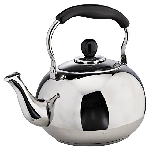 Whistling Tea Pot 8 Cups for Stove Top in Quality Classic Polished Stainless Steel