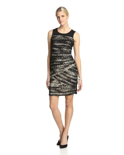 Julia Jordan Women's Burnout Mesh Dress  [Black/Taupe]
