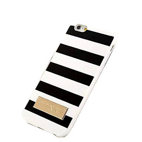 """SuperBZ White Black Stripe Design Replacement Victoria Secret TPU Case Cover for Apple iPhone 6 4.7"""