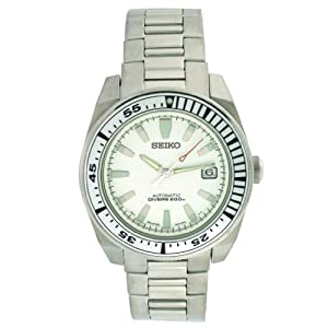 Click to buy Seiko Watches for Men: Samurai Dive Watch 200M Automatic Stainless Steel SNM031 from Amazon!