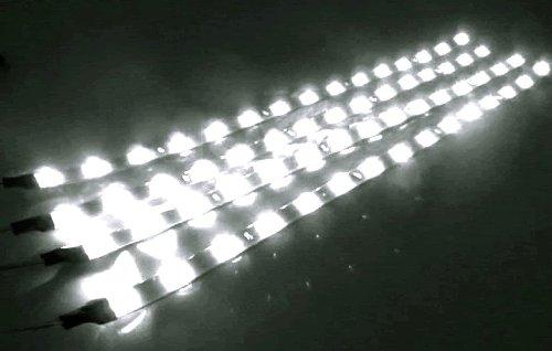 Cutequeen 30Cm Led Car Flexible Waterproof Light Strip White (Pack Of 4)
