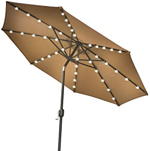 led lights patio umbrella garden outdoor sunshade market tan patio. Black Bedroom Furniture Sets. Home Design Ideas