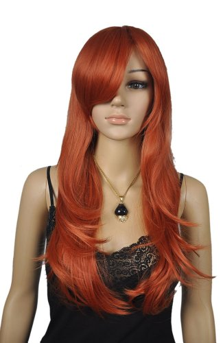 Qiyun Women's Orange Red Long Wavy Straight Cosplay Costume Comic Con Full Hair Wig