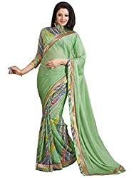 Exclusive Green And Multicolor Weightless Material Printed Saree With Blouse