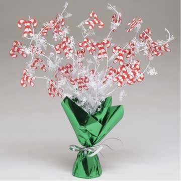 Creative Converting Foil Spray Centerpiece, Candy Canes, Red/White/Green