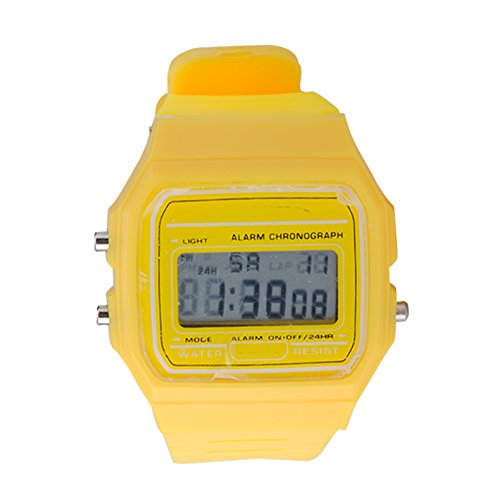 ATOZ Damen Mädchen Mode Gummi Silikon Band Digital Uhren Stoppuhr Armbanduhr (Gelb)