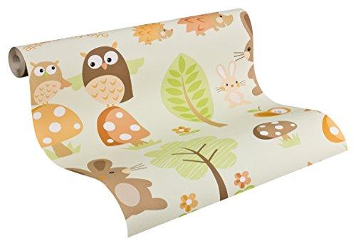 AS-Creation-935552-Boys-und-Girls-4-Papel-pintado-con-estampado-diseo-de-animales-y-plantas-color-verde-marrn-naranja-y-blanco