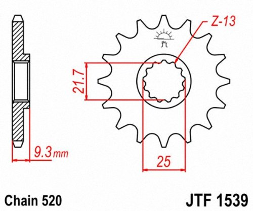 JT Sprockets JTF1539.15 15T Steel Front Sprocket