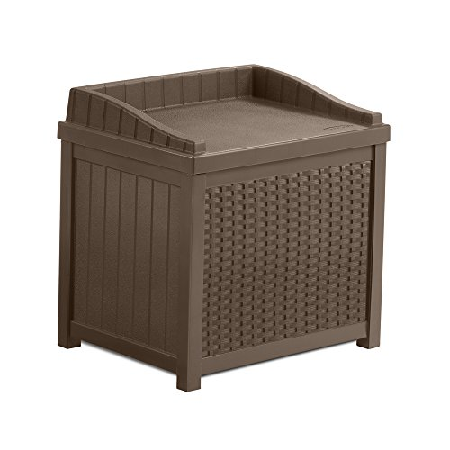 Suncast SSW1200 Mocha Resin Wicker 22-Gallon Storage Seat (Resin Bench Storage compare prices)
