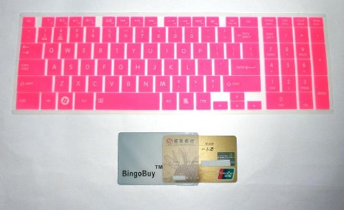"""Bingobuy® Semi-Pink Ultra Thin Silicone Keyboard Protector Skin Cover For Toshiba Satellite C50-A, C50D-A, C50T-A, C55-A, C55D-A, C55T-A, C55Dt-A, C70-A, C70D-A, C75-A, C75D-A, C875, C875D Seires(If Your """"Enter"""" Key Looks Like """"7"""", Our Skin Can'T Fit) Wit"""
