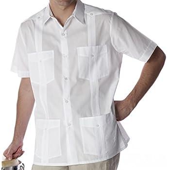Basic Traditional Cotton Blend guayabera color white.