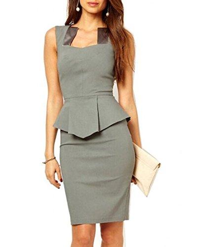 WIIPU Women grey Rockabilly Bodycon Business knee-length Pencil Dress(J416