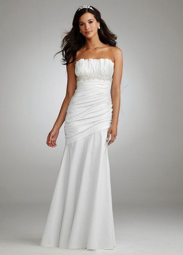 David&#8217;s Bridal Wedding Dress: Ruched Strapless Gown with Draped Bodice and Skirt Style 231M13270