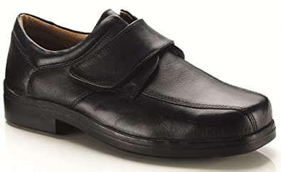 Mens New Extra Wide 4e Fitting Black Velcro Shoes. (7)