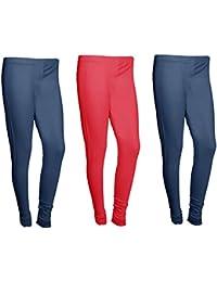 Indistar Women Cotton Legging Comfortable Stylish Churidar Full Length Women Leggings-Navy Blue/Red-Free Size-Pack...