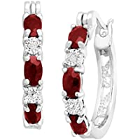 Finecraft 1 1/2 ct Garnet Hoop Earrings with Diamonds