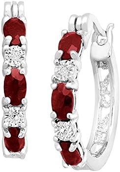 Finecraft 1 1/2 ct Garnet Hoop Earrings with Diamonds