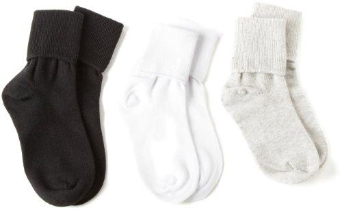 Country Kids Little Boys' Organic Turncuff Handlinked 3 Pack Socks, White/Silver Gray/Black, 6-7