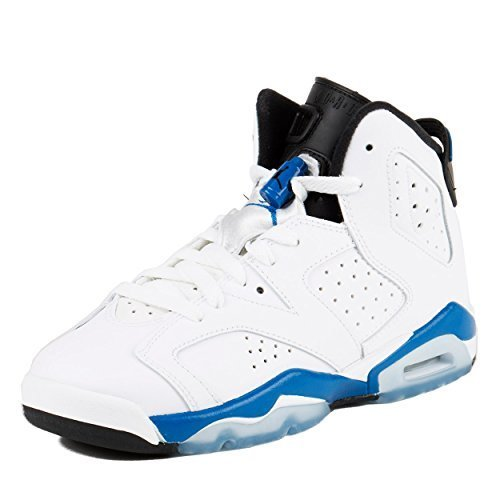 Nike Boys Air Jordan 6 Retro BG Sport Blue White/Sport Blue-Black Leather Size 5.5Y by Jordan