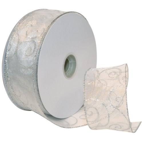 Check Out This Morex Ribbon Swirl Wired Sheer Glitter Ribbon, 2-1/2-Inch by 50-Yard Spool, White/Sil...