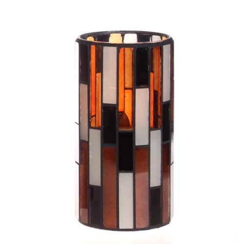 Dfl 3*6 Inch Multi Color Tiled Pattern Mosaic Glass With Flameless Led Candle With Timer,Work With 2 C Battery